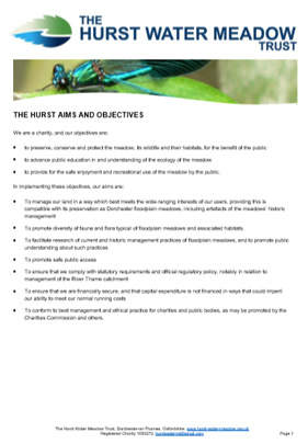 The Hurst Water Meadow Trust- Privacy Policy